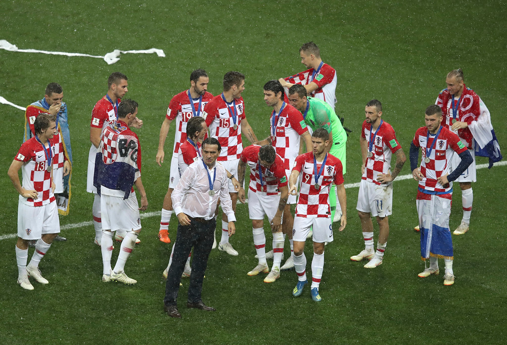 . Croatia players react at the end of the final match between France and Croatia at the 2018 soccer World Cup in the Luzhniki Stadium in Moscow, Russia, Sunday, July 15, 2018. (AP Photo/Thanassis Stavrakis)