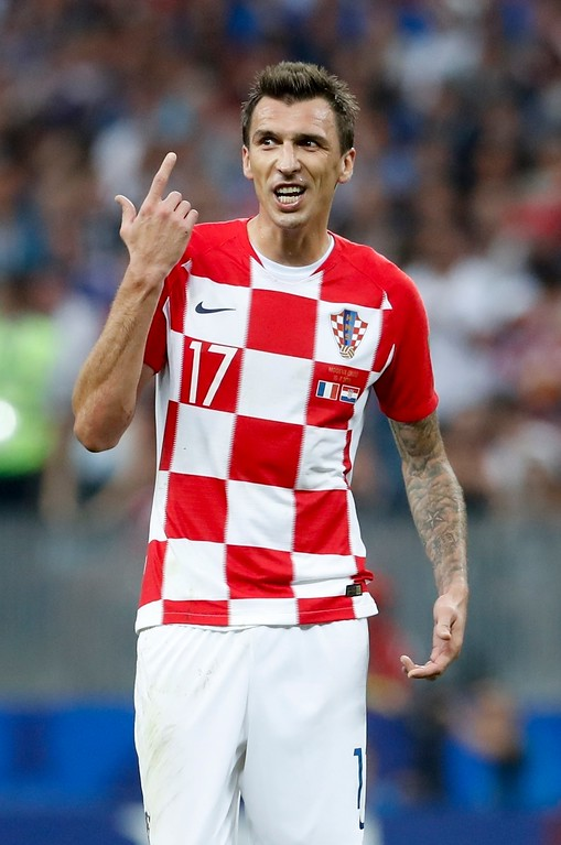 . Croatia\'s Mario Mandzukic reacts during the final match between France and Croatia at the 2018 soccer World Cup in the Luzhniki Stadium in Moscow, Russia, Sunday, July 15, 2018. (AP Photo/Petr David Josek)