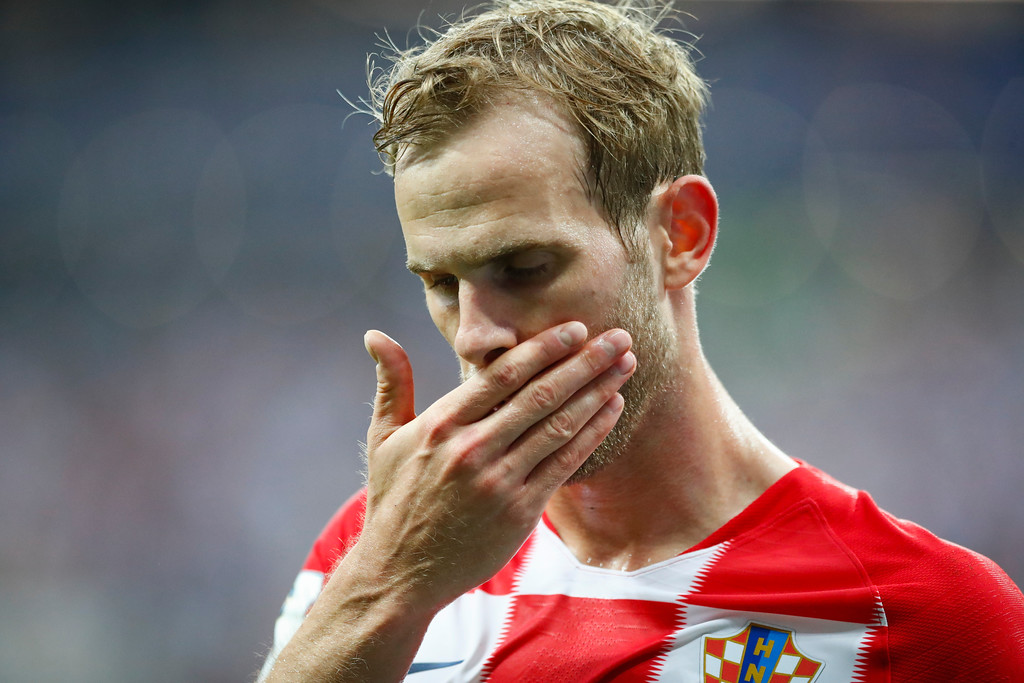 . Croatia\'s Ivan Strinic reacts during the final match between France and Croatia at the 2018 soccer World Cup in the Luzhniki Stadium in Moscow, Russia, Sunday, July 15, 2018. (AP Photo/Matthias Schrader)