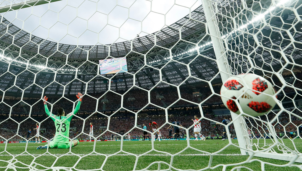 . Croatia goalkeeper Danijel Subasic reacts after France\'s Kylian Mbappe scored his side\'s fourth goal during the final match between France and Croatia at the 2018 soccer World Cup in the Luzhniki Stadium in Moscow, Russia, Sunday, July 15, 2018. (AP Photo/Martin Meissner)