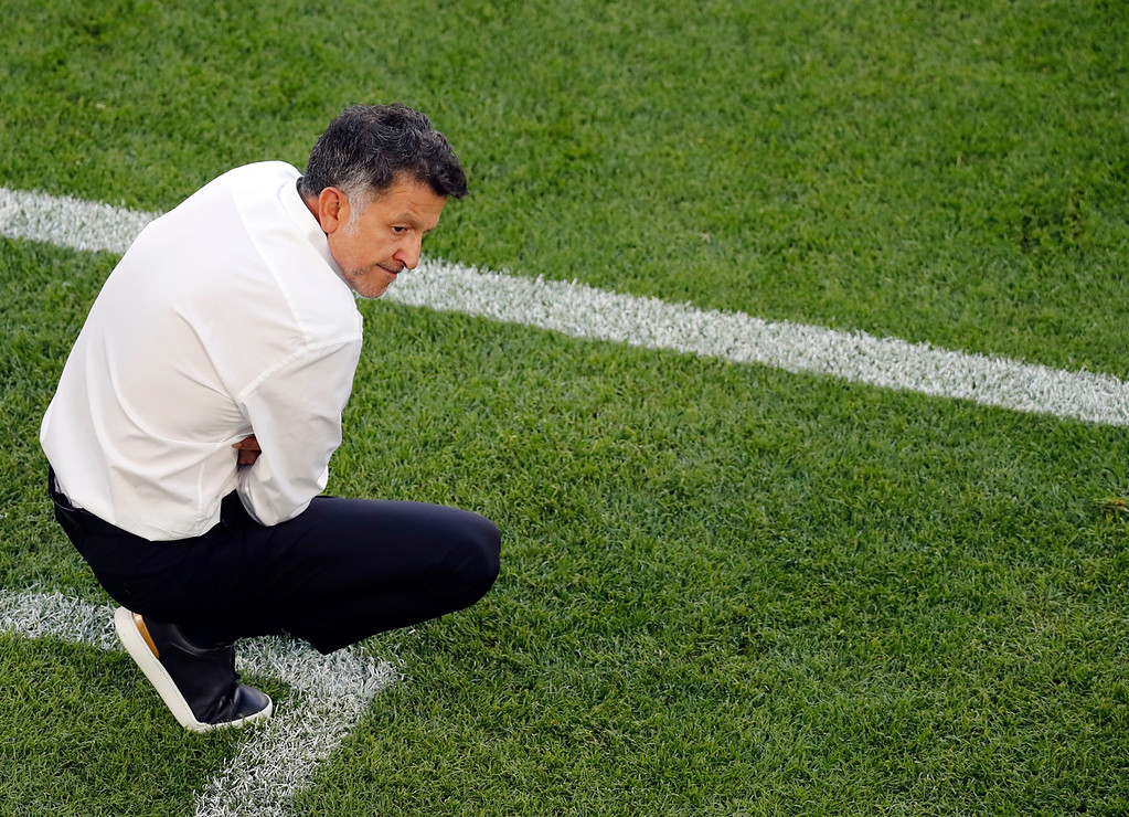 . Mexico head coach Juan Carlos Osorio reacts during the group F match between Mexico and Sweden, at the 2018 soccer World Cup in the Yekaterinburg Arena in Yekaterinburg , Russia, Wednesday, June 27, 2018. (AP Photo/Efrem Lukatsky)