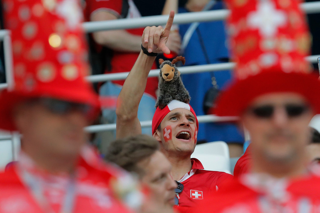 . A Switzerland fan cheers prior the group E match between Switzerland and Costa Rica at the 2018 soccer World Cup in the Nizhny Novgorod Stadium in Nizhny Novgorod, Russia, Wednesday, June 27, 2018. (AP Photo/Vadim Ghirda)