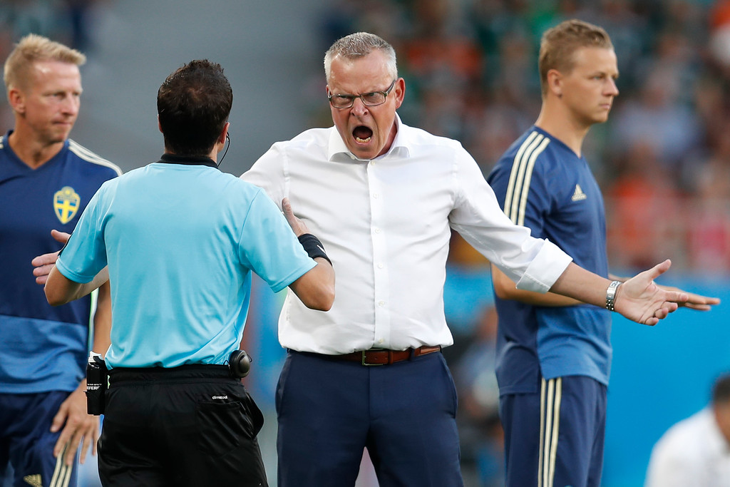 . Sweden head coach Janne Andersson, center, reacts during the group F match between Mexico and Sweden, at the 2018 soccer World Cup in the Yekaterinburg Arena in Yekaterinburg, Russia, Wednesday, June 27, 2018. (AP Photo/Eduardo Verdugo)