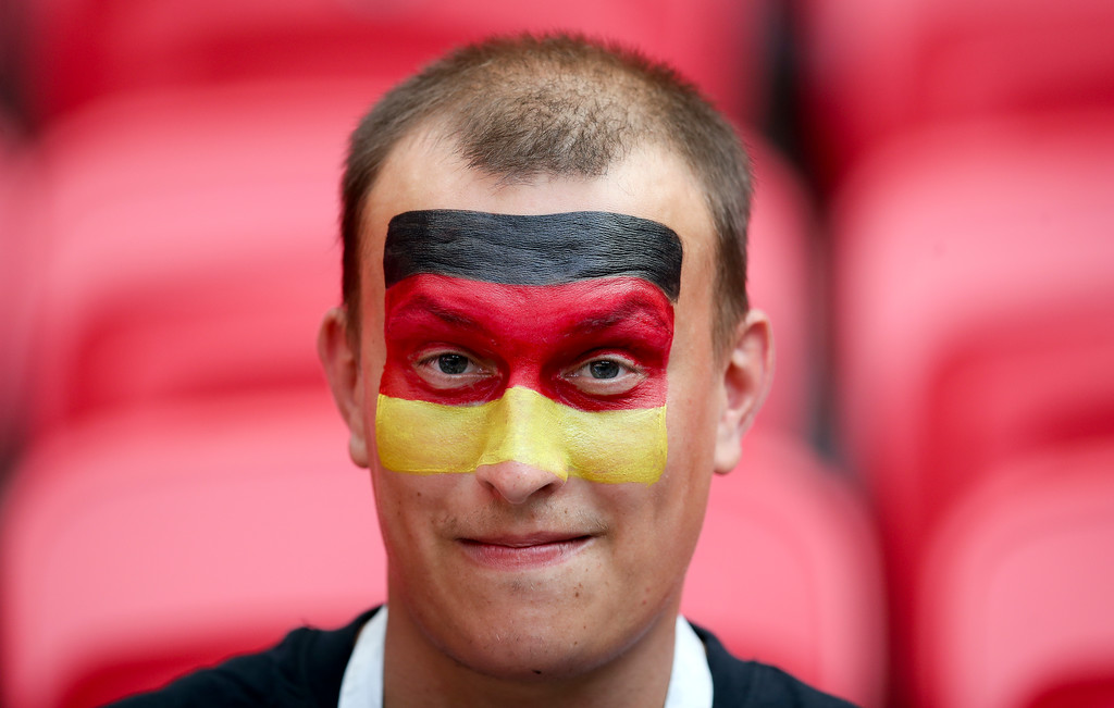 . A Germany fan waits for the start of the group F match between South Korea and Germany, at the 2018 soccer World Cup in the Kazan Arena in Kazan, Russia, Wednesday, June 27, 2018. (AP Photo/Thanassis Stavrakis)