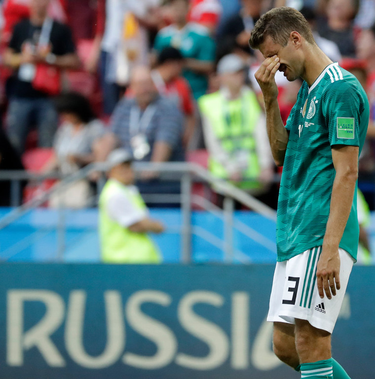 . Germany\'s Thomas Mueller wipes his face after the group F match between South Korea and Germany, at the 2018 soccer World Cup in the Kazan Arena in Kazan, Russia, Wednesday, June 27, 2018. (AP Photo/Lee Jin-man)
