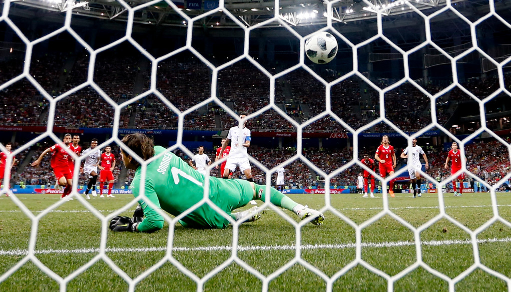 . Costa Rica\'s Bryan Ruiz scores his side\' second goal on a penalty, during the group E match between Switzerland and Costa Rica, at the 2018 soccer World Cup in the Nizhny Novgorod Stadium in Nizhny Novgorod, Russia, Wednesday, June 27, 2018. (AP Photo/Natacha Pisarenko)
