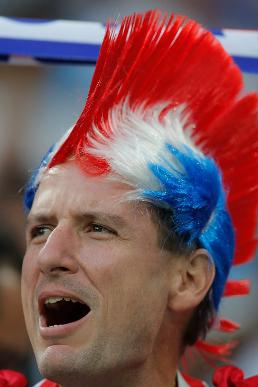 . A Costa Rica fan cheers in the stand prior of the group E match between Switzerland and Costa Rica at the 2018 soccer World Cup in the Nizhny Novgorod Stadium in Nizhny Novgorod, Russia, Wednesday, June 27, 2018. (AP Photo/Vadim Ghirda)