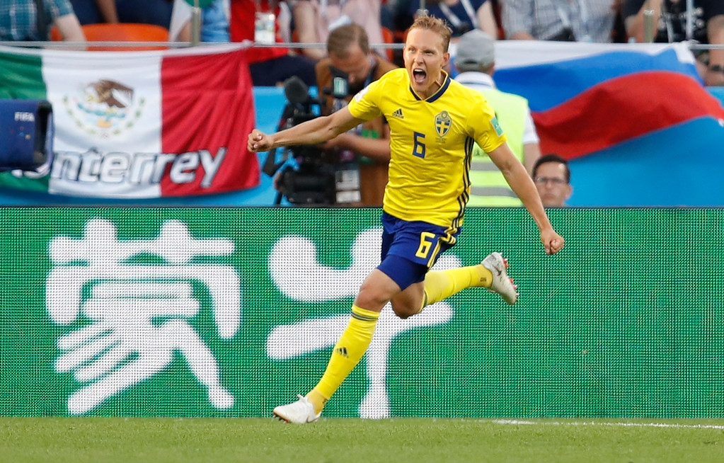 . Sweden\'s Ludwig Augustinsson celebrates after scoring his side\'s first goal during the group F match between Mexico and Sweden, at the 2018 soccer World Cup in the Yekaterinburg Arena in Yekaterinburg , Russia, Wednesday, June 27, 2018. (AP Photo/Eduardo Verdugo)