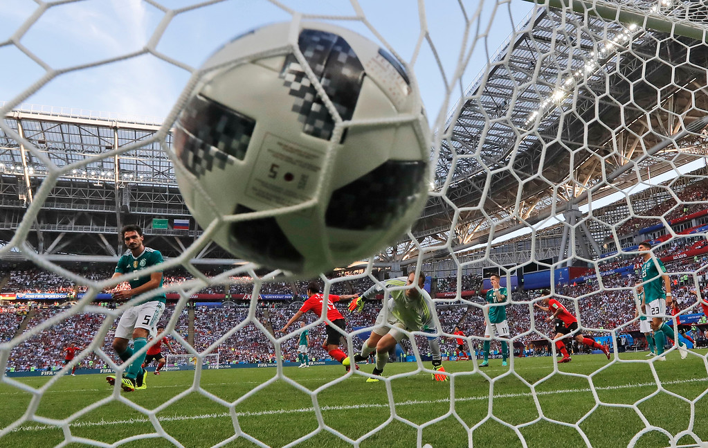. Germany goalkeeper Manuel Neuer reacts after South Korea\'s Kim Young-gwon, 3rd from left, scored his side\'s opening goal during the group F match between South Korea and Germany, at the 2018 soccer World Cup in the Kazan Arena in Kazan, Russia, Wednesday, June 27, 2018. (AP Photo/Frank Augstein)