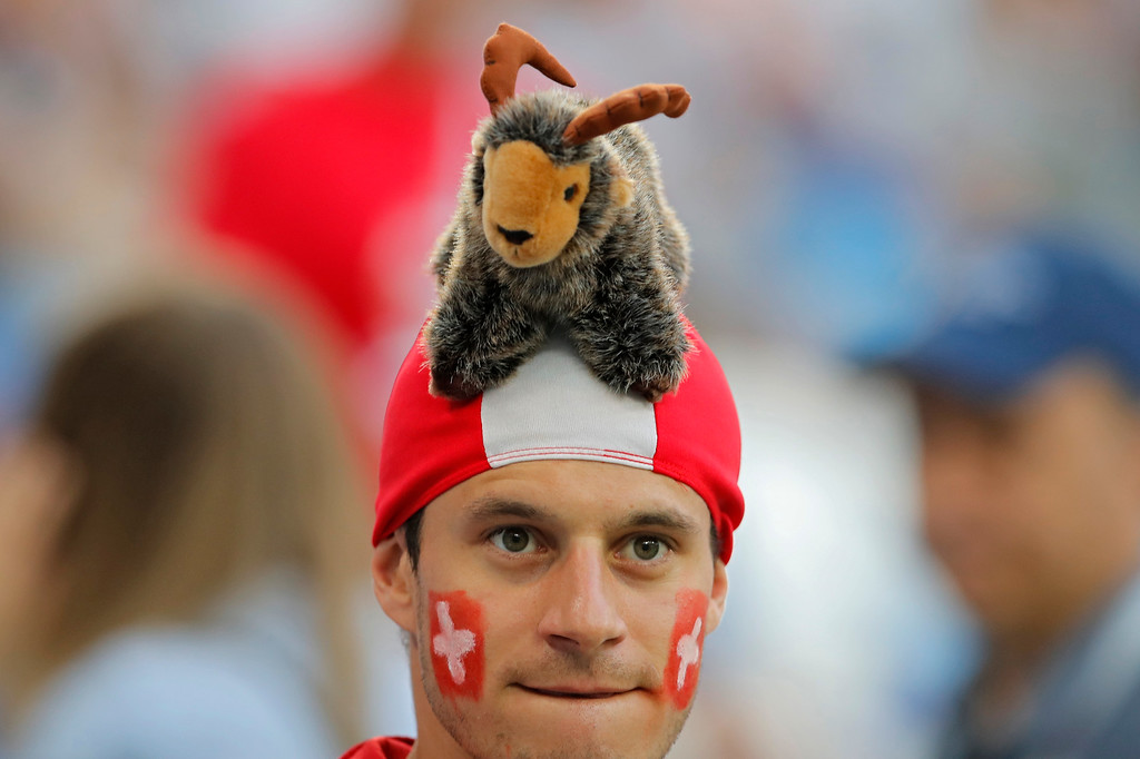 . A Switzerland fan waits for the start of the group E match between Switzerland and Costa Rica at the 2018 soccer World Cup in the Nizhny Novgorod Stadium in Nizhny Novgorod, Russia, Wednesday, June 27, 2018. (AP Photo/Vadim Ghirda)
