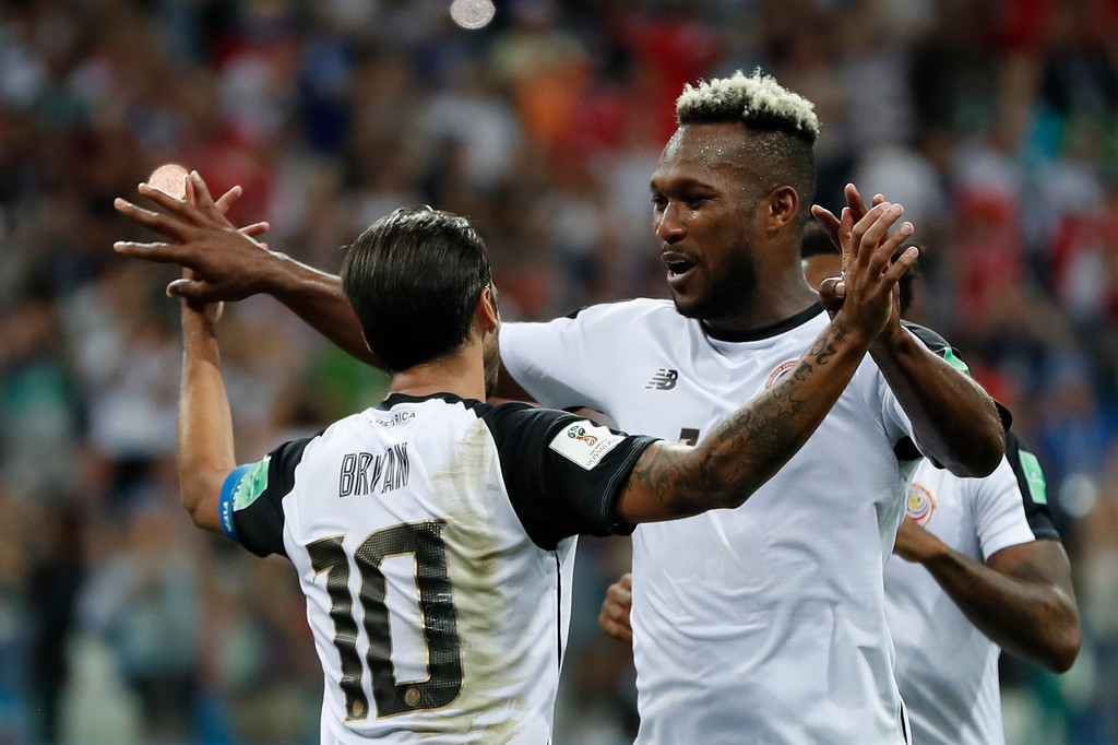 . Costa Rica\'s Bryan Ruiz, left, celebrates with his teammate Kendall Waston after scoring his side\'s second goal during the group E match between Switzerland and Costa Rica, at the 2018 soccer World Cup in the Nizhny Novgorod Stadium in Nizhny Novgorod , Russia, Wednesday, June 27, 2018. (AP Photo/Natasha Pisarenko)
