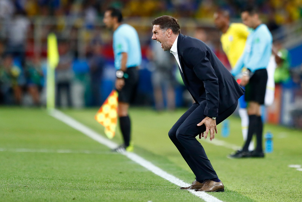 . Serbia head coach Mladen Krstajic gestures during the group E match between Serbia and Brazil, at the 2018 soccer World Cup in the Spartak Stadium in Moscow, Russia, Wednesday, June 27, 2018. (AP Photo/Matthias Schrader)