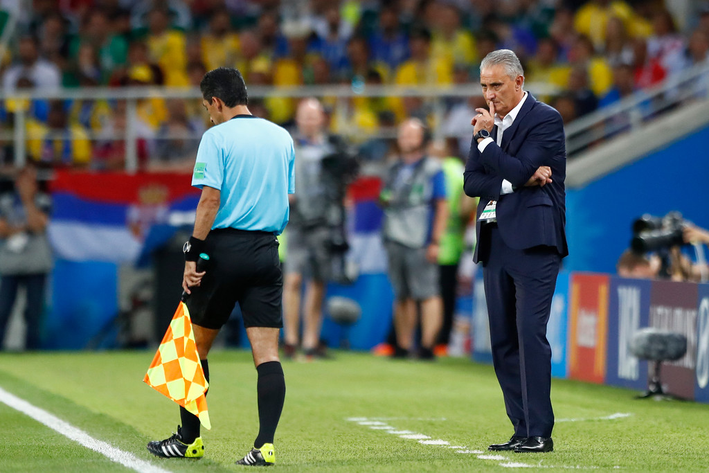 . Brazil head coach Tite watches during the group E match between Serbia and Brazil, at the 2018 soccer World Cup in the Spartak Stadium in Moscow, Russia, Wednesday, June 27, 2018. (AP Photo/Matthias Schrader)