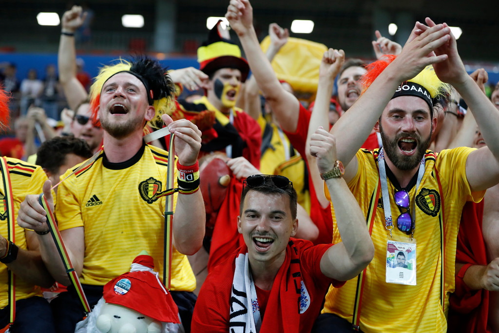 . Belgium\'s fans celebrate their team victory over Japan during the round of 16 match between Belgium and Japan at the 2018 soccer World Cup in the Rostov Arena, in Rostov-on-Don, Russia, Monday, July 2, 2018. (AP Photo/Rebecca Blackwell)