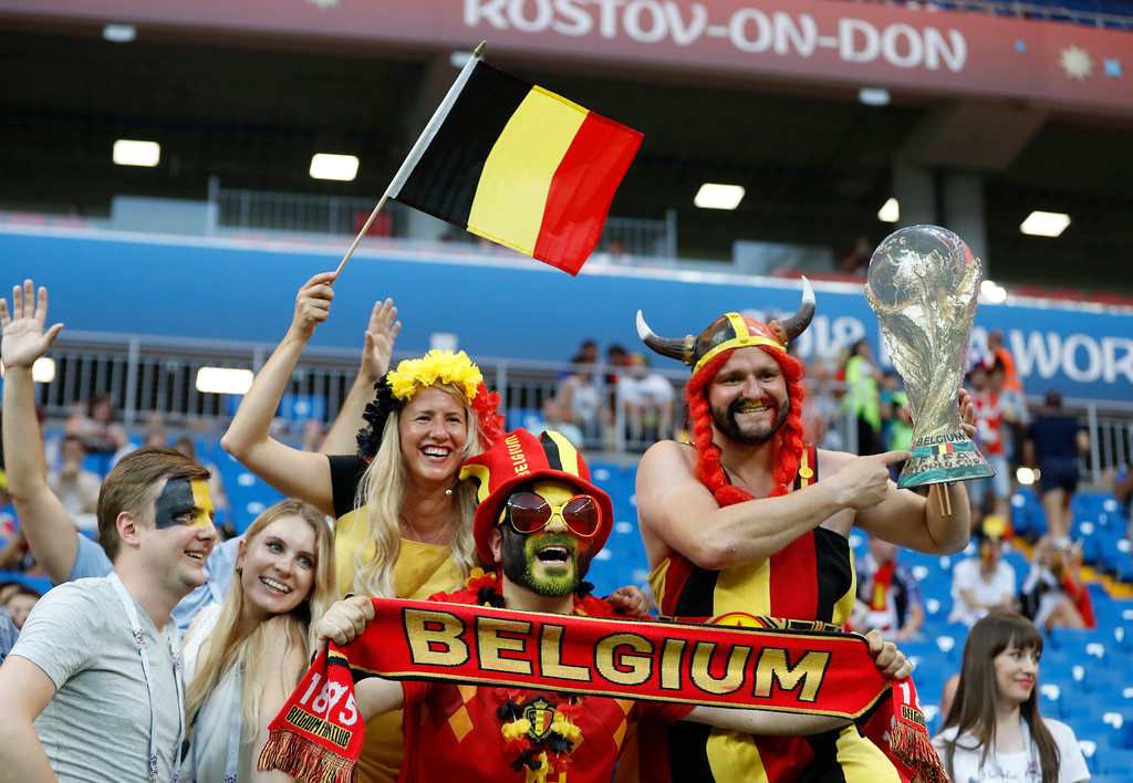 . Belgium fans cheer prior of the round of 16 match between Belgium and Japan at the 2018 soccer World Cup in the Rostov Arena, in Rostov-on-Don, Russia, Monday, July 2, 2018. (AP Photo/Rebecca Blackwell)
