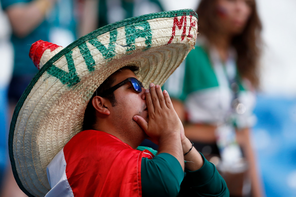 . Fan of Mexico remains on the stands after the round of 16 match between Brazil and Mexico at the 2018 soccer World Cup in the Samara Arena, in Samara, Russia, Monday, July 2, 2018. Mexico lost 0-2. (AP Photo/Eduardo Verdugo)