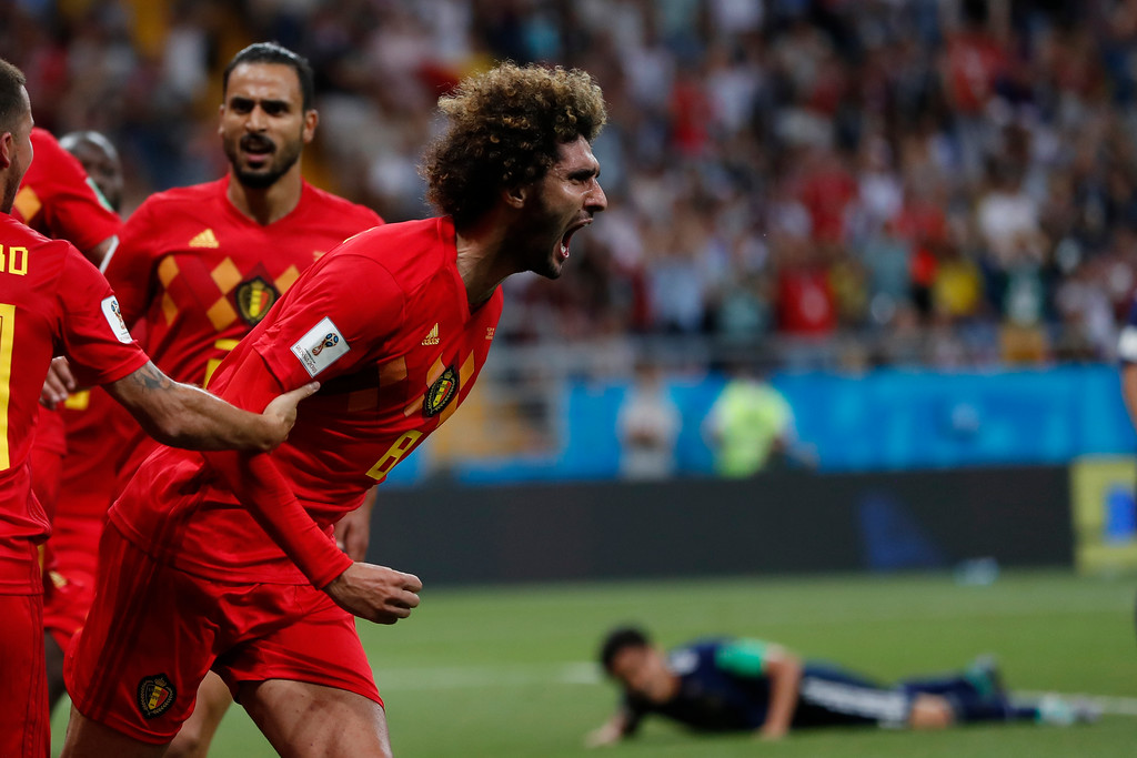 . Belgium\'s Marouane Fellaini celebrates after scoring his side\'s second goal during the round of 16 match between Belgium and Japan at the 2018 soccer World Cup in the Rostov Arena, in Rostov-on-Don, Russia, Monday, July 2, 2018. (AP Photo/Natacha Pisarenko)