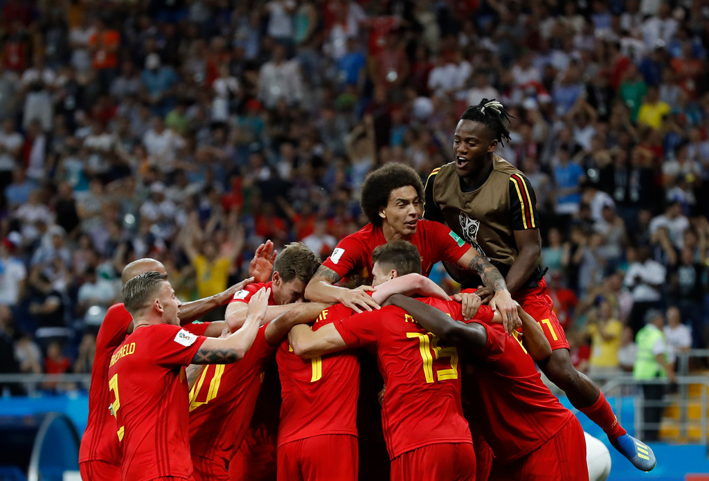 . Belgium\'s players celebrate Nacer Chadli\'s third side\'s goal during the round of 16 match between Belgium and Japan at the 2018 soccer World Cup in the Rostov Arena, in Rostov-on-Don, Russia, Monday, July 2, 2018. (AP Photo/Rebecca Blackwell)