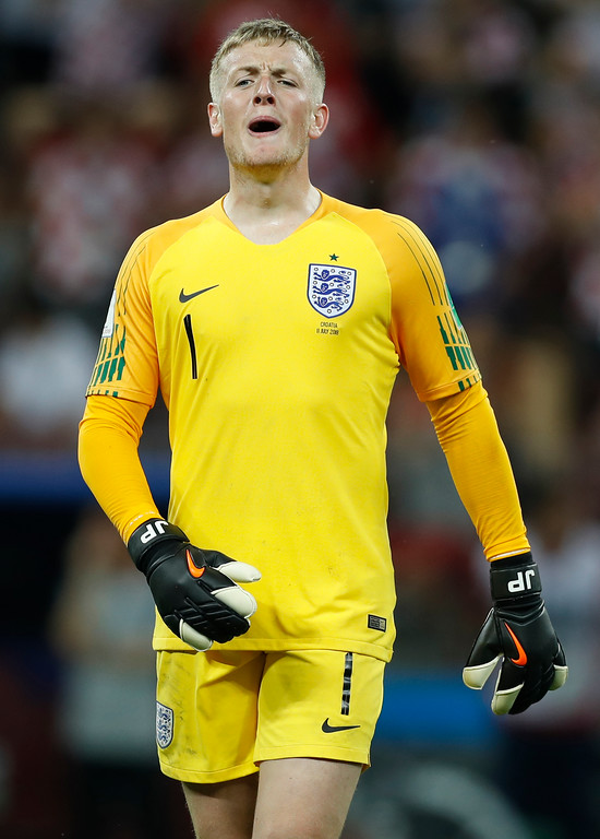 . England goalkeeper Jordan Pickford reacts during the semifinal match between Croatia and England at the 2018 soccer World Cup in the Luzhniki Stadium in Moscow, Russia, Wednesday, July 11, 2018. (AP Photo/Francisco Seco)