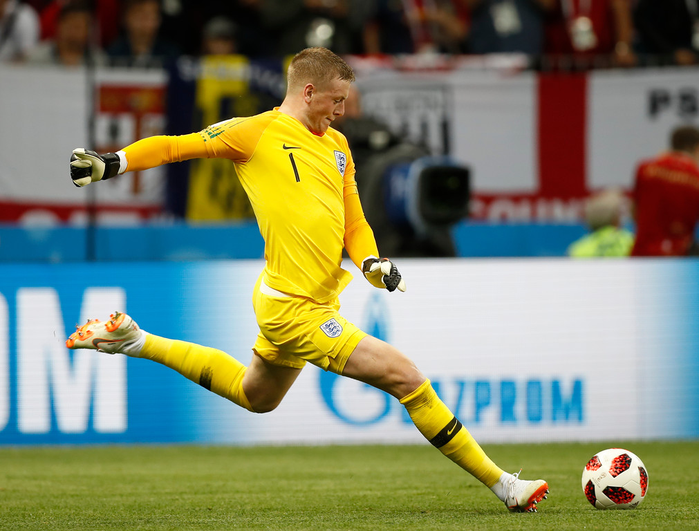 . England goalkeeper Jordan Pickford kicks the ball during the semifinal match between Croatia and England at the 2018 soccer World Cup in the Luzhniki Stadium in Moscow, Russia, Wednesday, July 11, 2018. (AP Photo/Francisco Seco)