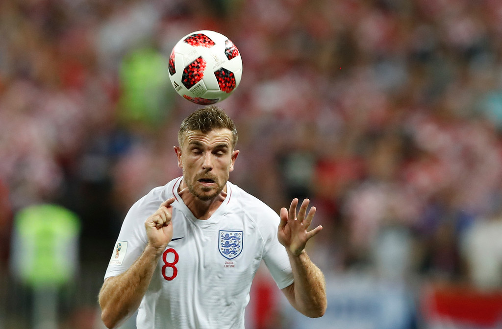 . England\'s Jordan Henderson controls the ball during the semifinal match between Croatia and England at the 2018 soccer World Cup in the Luzhniki Stadium in Moscow, Russia, Wednesday, July 11, 2018. (AP Photo/Rebecca Blackwell)