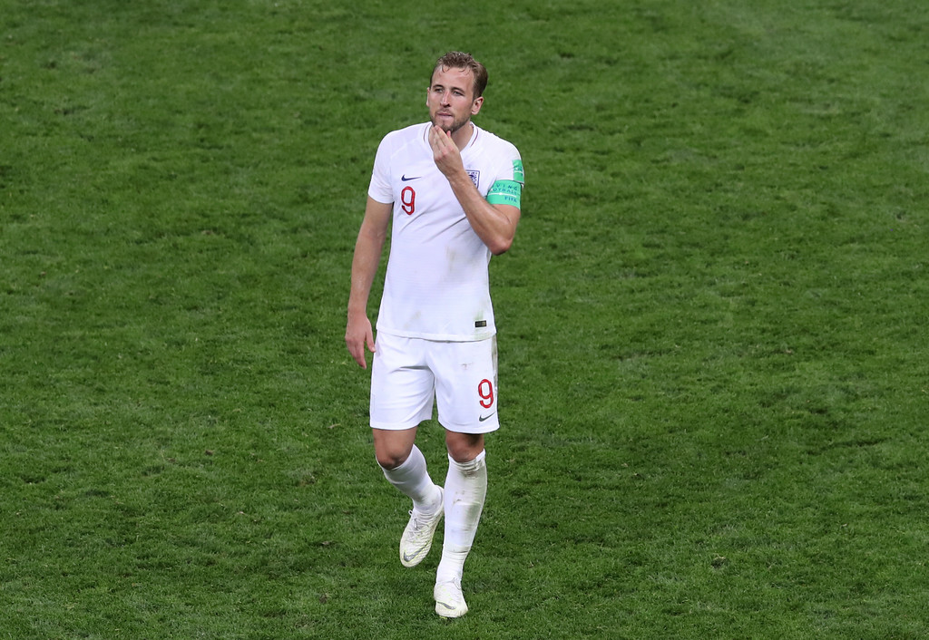 . England\'s Harry Kane leaves the field at the end of the semifinal match between Croatia and England at the 2018 soccer World Cup in the Luzhniki Stadium in Moscow, Russia, Wednesday, July 11, 2018. (AP Photo/Thanassis Stavrakis)