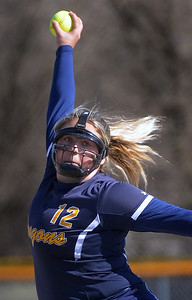 Sydney Pylar (12) of Clintondale winds up for a pitch during the match between Lincoln and Clintondale at Clintondale High School on April 14, 2016.(MIPrepZone photo gallery by David Dalton)