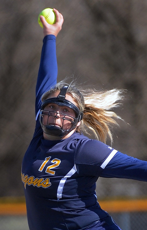 . Sydney Pylar (12) of Clintondale winds up for a pitch during the match between Lincoln and Clintondale at Clintondale High School on April 14, 2016.(MIPrepZone photo gallery by David Dalton)