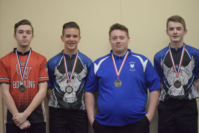 All-Macomb County Second Team, from left, Keegan Ratobylski of Chippewa Valley, Tyler Brownsworth of Eisenhower, Logan Slavin of Lakeview and Dylan Kelley of Eisenhower. Not pictured, Austin Mancini of Utica.