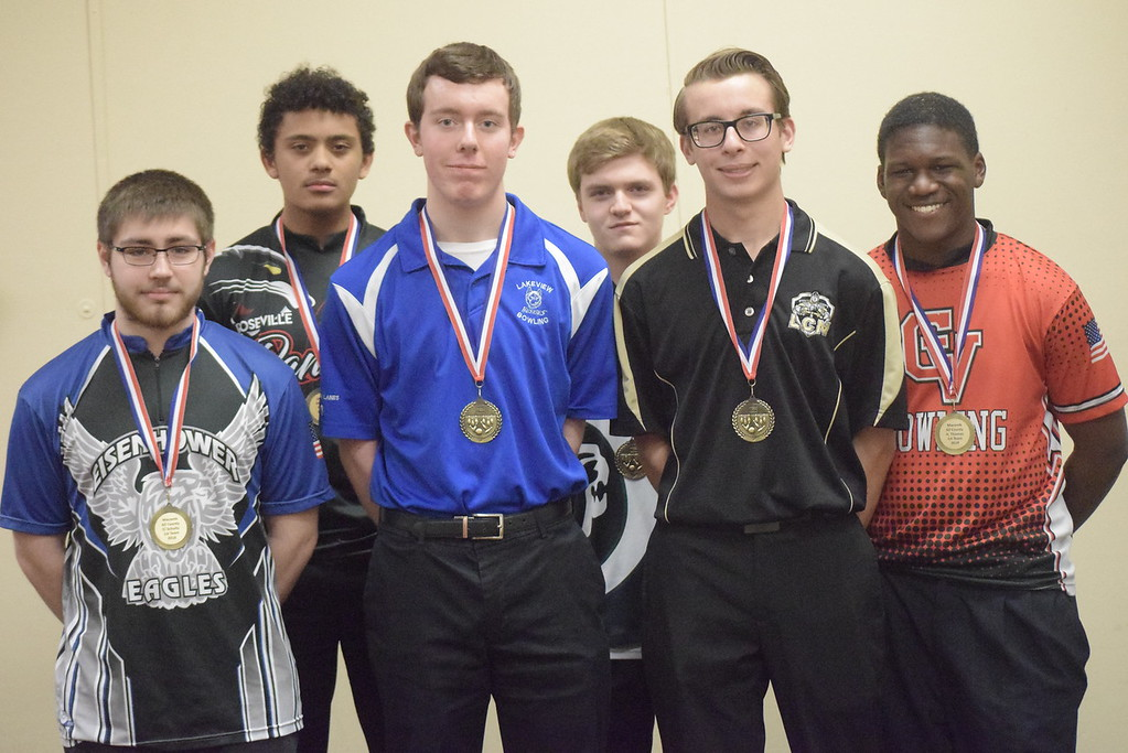 . All-Macomb County First Team, from left, Dylan Schultz of Eisenhower, Noah Wells of Roseville, Brad Dugas of Lakeview, Ryan James of Dakota, Cory Mazure of L\'Anse Creuse North and Abery Thomas of Chippewa Valley.