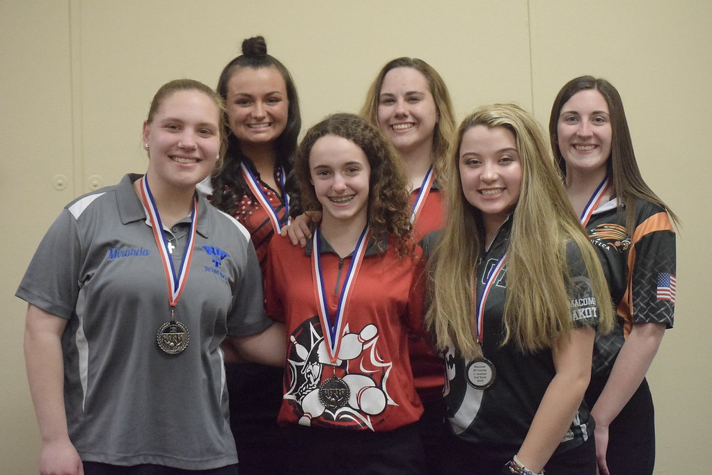 . All-Macomb County Second Team, from left, Miranda Walker of Warren Woods-Tower, Danielle Seaman of Anchor Bay, Danella DeCruydt of Lake Shore, Jessica Ludwick of Lake Shore, Carly Scanlon of Dakota and Sydney Clark of Utica.
