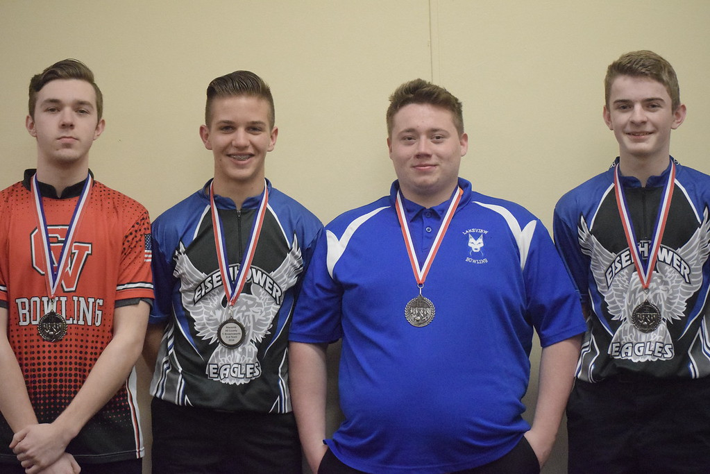 . All-Macomb County Second Team, from left, Keegan Ratobylski of Chippewa Valley, Tyler Brownsworth of Eisenhower, Logan Slavin of Lakeview and Dylan Kelley of Eisenhower. Not pictured, Austin Mancini of Utica.