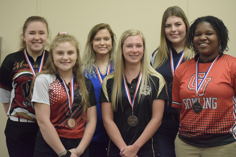 All-Macomb County Third Team, from left, Brittany Ahlgrim of Warren-Mott, Emily Fulgenti of Anchor Bay, Caitlyn Bashaw of Lakeview, Sarah Hubbard of L'Anse Creuse North, Lindsey Williams of Stevenson and Mikaila Thomas of Chippewa Valley.
