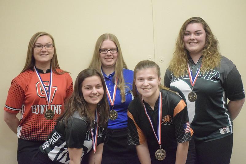 All-Macomb County First Team, from left, Lexi Smigiel of Chippewa Vlaley, Danielle McBride of Dakota, Stephanie Schalk of Lakeview, Kenzee Barthlow of Utica and Jordan Reiss of Dakota.
