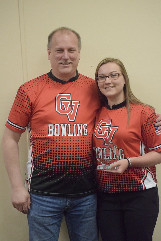 . Lexi Smigiel of Chippewa Valley was named Macomb County Ms. Bowling. She is pictured Tim Smigiel, her father and a CV coach.