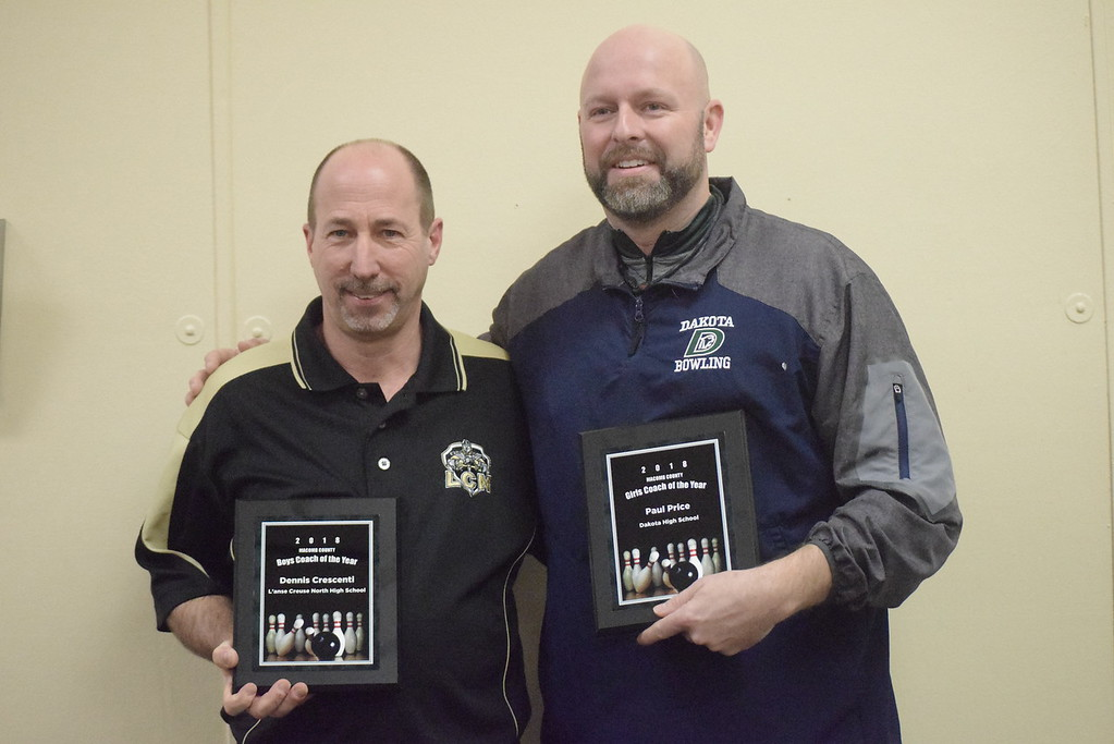 . Dennis Crescenti, left, of L\'Anse Creuse North was named Macomb County boys Coach of the Year and Paul Price of Dakota the girls Coach of the Year. Crescenti coached the Crusaders with Phil Pordon.
