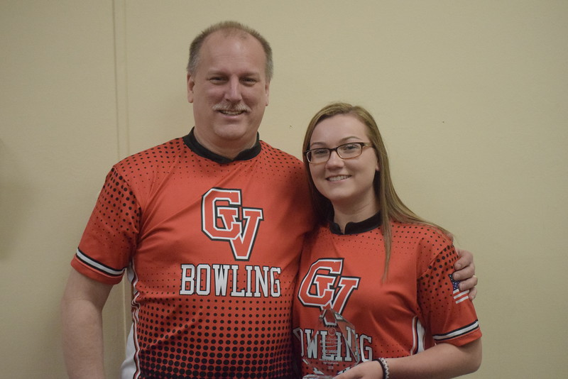 Lexi Smigiel of Chippewa Valley was named Macomb County Ms. Bowling. She is pictured with Tim Smigiel, her father and a CV coach.