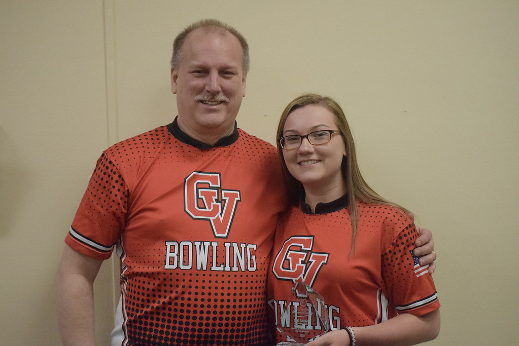 . Lexi Smigiel of Chippewa Valley was named Macomb County Ms. Bowling. She is pictured with Tim Smigiel, her father and a CV coach.