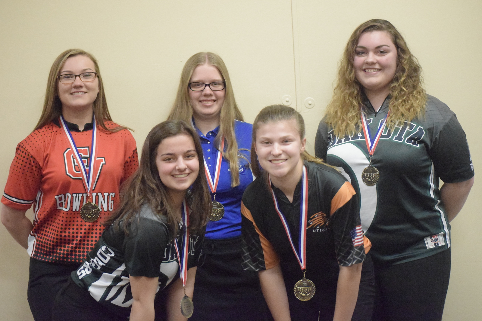 All-Macomb County First Team, from left, Lexi Smigiel of Chippewa Vlaley, Danielle McBride of Dakota, Stephanie Schalk of Lakeview, Kenzee Barthlow of Utica and Jordan Reiss of Dakota. Not pictured, Laurin Prebelich of Ford.