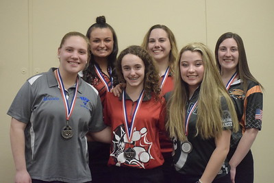All-Macomb County Second Team, from left, Miranda Walker of Warren Woods-Tower, Danielle Seaman of Anchor Bay, Danella DeCruydt of Lake Shore, Jessica Ludwick of Lake Shore, Carly Scanlon of Dakota and Sydney Clark of Utica.