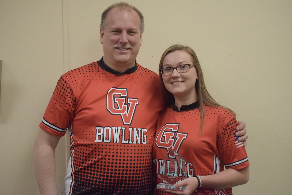 . Lexi Smigiel of Chippewa Valley was named Macomb County Ms. Bowling. She is pictured with her father and CV coach, Tim Smigiel.