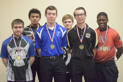 All-Macomb County First Team, from left, Dylan Schultz of Eisenhower, Noah Wells of Roseville, Brad Dugas of Lakeview, Ryan James of Dakota, Cory Mazure of L'Anse Creuse North and Abery Thomas of Chippewa Valley. Not pictured, CJ Wagner of Richmond, who was named Macomb County Mr. Bowling.