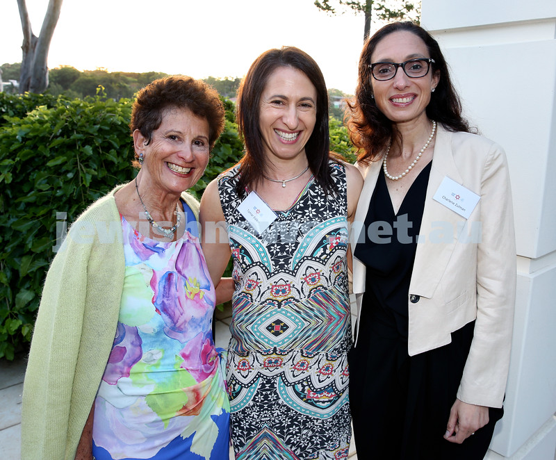 MDA Cocktail Party to honour Robert Magid as new patron. (from left) Miriam Briggs, Tamar Balkin, Charlene Zulman. Pic Noel Kessel.