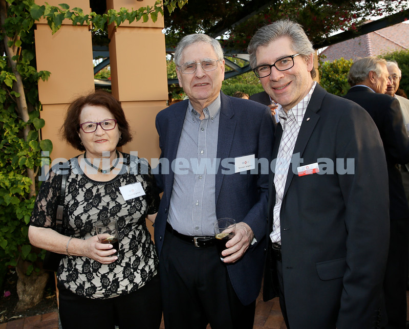 MDA Cocktail Party to honour Robert Magid as new patron. (from left) Paula Seligman, Norman Seligman, Tony Ziegler. Pic Noel Kessel.