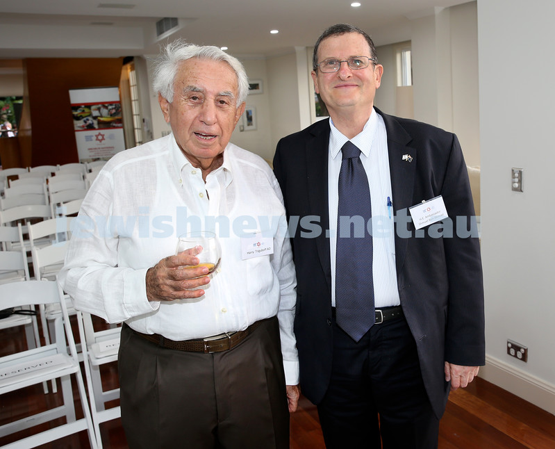 MDA Cocktail Party to honour Robert Magid as new patron. Harry Trigguboff (left) and Israeli Ambassador Shmuel Ben Shmuel. Pic Noel Kessel.