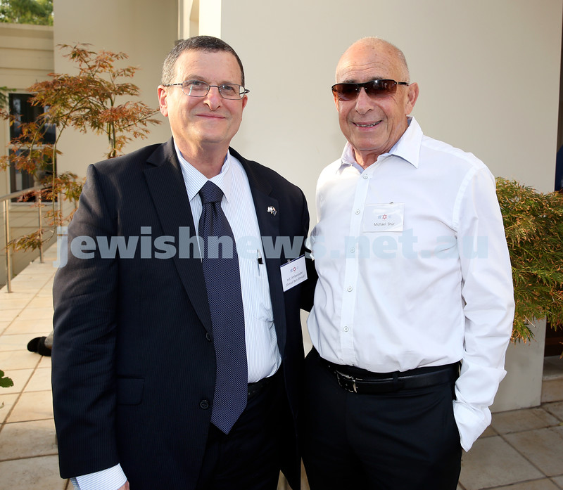MDA Cocktail Party to honour Robert Magid as new patron. Israeli Ambassador Shmuel ben Shmuel (left) & Miachael Shur. Pic Noel Kessel.