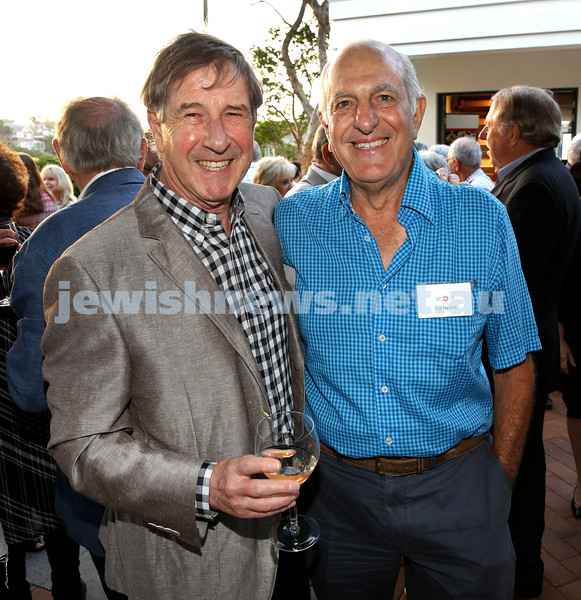 MDA Cocktail Party to honour Robert Magid as new patron. Harold Shapiro (left) and Joe Hersch. Pic Noel Kessel.
