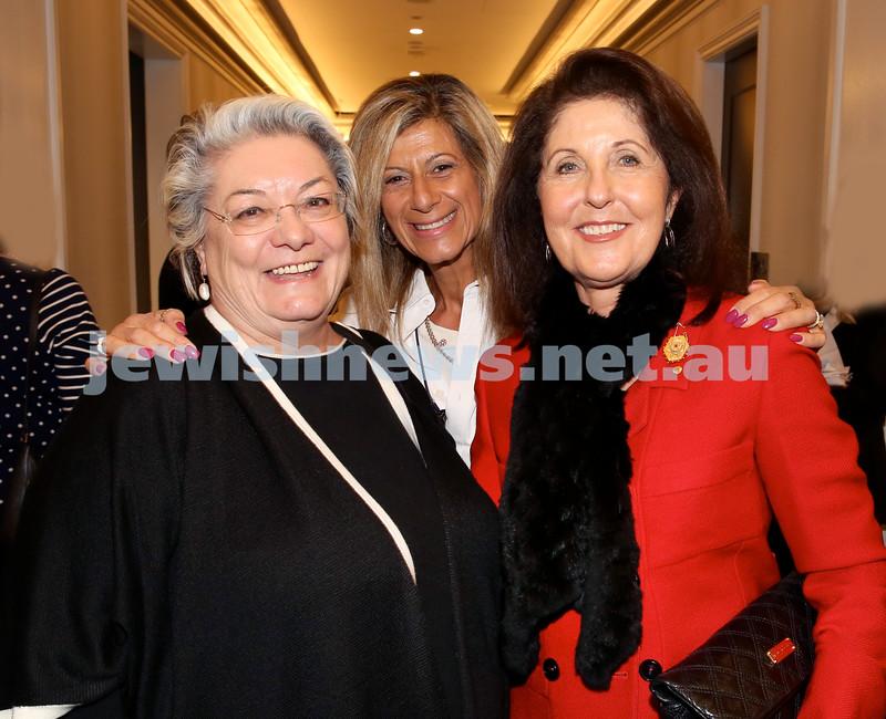 MDA Fundraiser event at the Intercon Hotel in Double Bay. Waverley Mayor Sally Betts, Carolyn Ziegler, Isabelle Shapiro. Pic Noel Kessel.