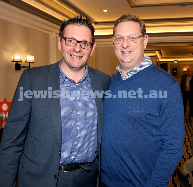 MDA Fundraiser event at the Intercon Hotel in Double Bay. Jason Eisner (Left) & Ben Bolot. Pic Noel Kessel.