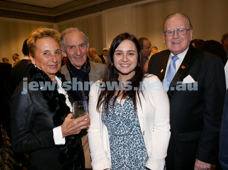 MDA Fundraiser event at the Intercon Hotel in Double Bay. From left Sandra Berman, David Berman, Raffaelle Berman, Fred Nile. Pic Noel Kessel.